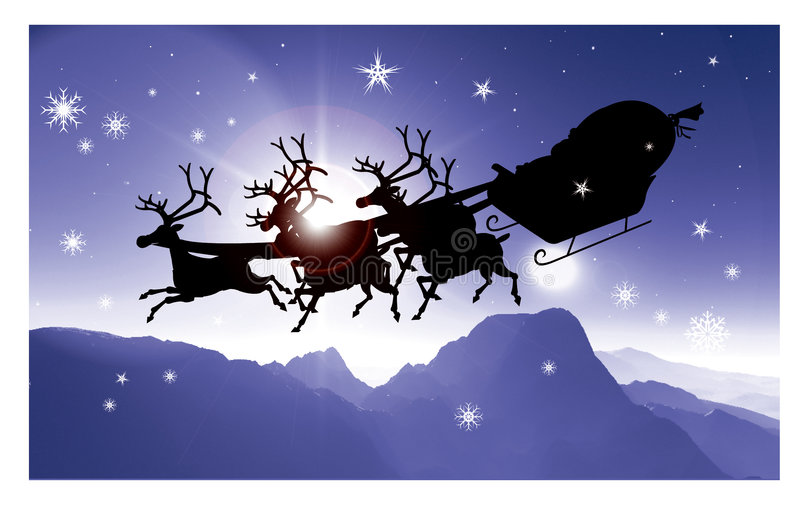 (1) babbo jego natale Santa saneczki ilustracja wektor