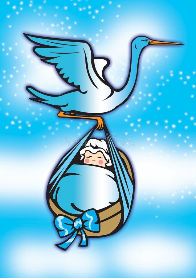 1 behandla som ett barn den nya storken för pojken royaltyfri illustrationer