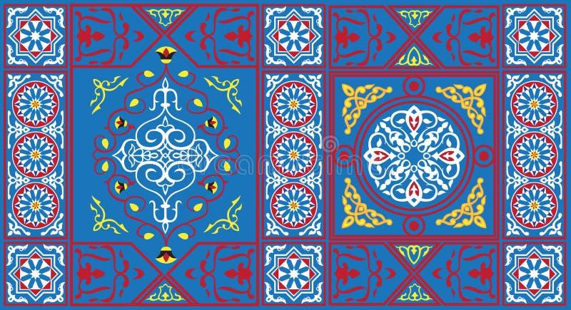 1 blåa egyptiska tygmodelltent royaltyfri illustrationer
