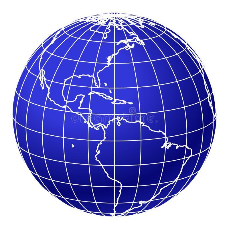 1 blåa jordklotvärld royaltyfri illustrationer