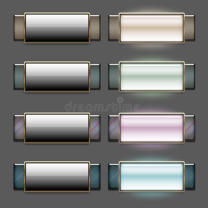1 blanka knappar stilfullt v stock illustrationer