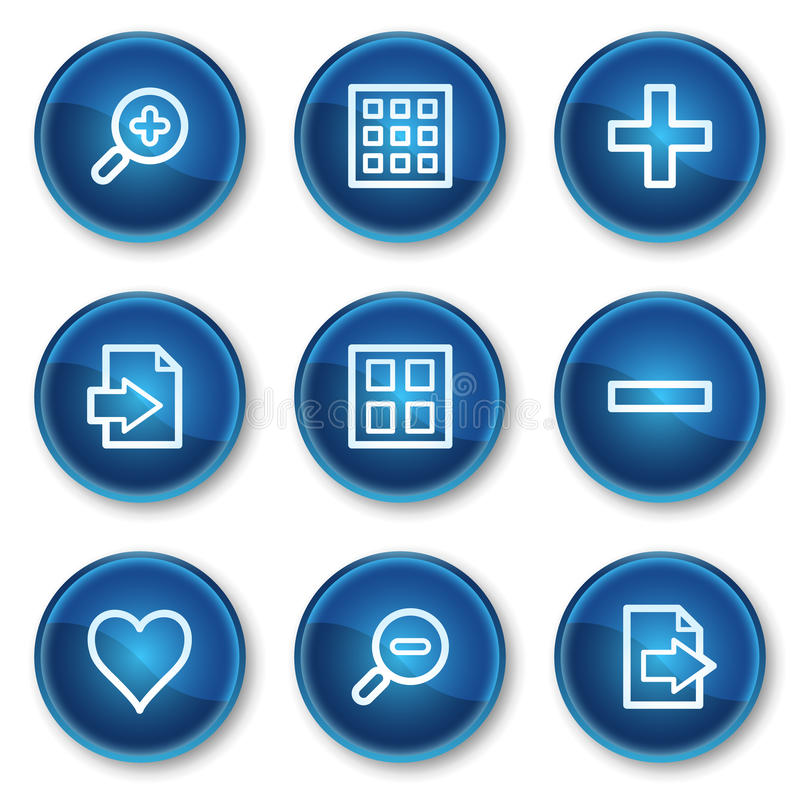1 blue buttons rengöringsduk för tittare för set för cirkelsymbolsbild stock illustrationer
