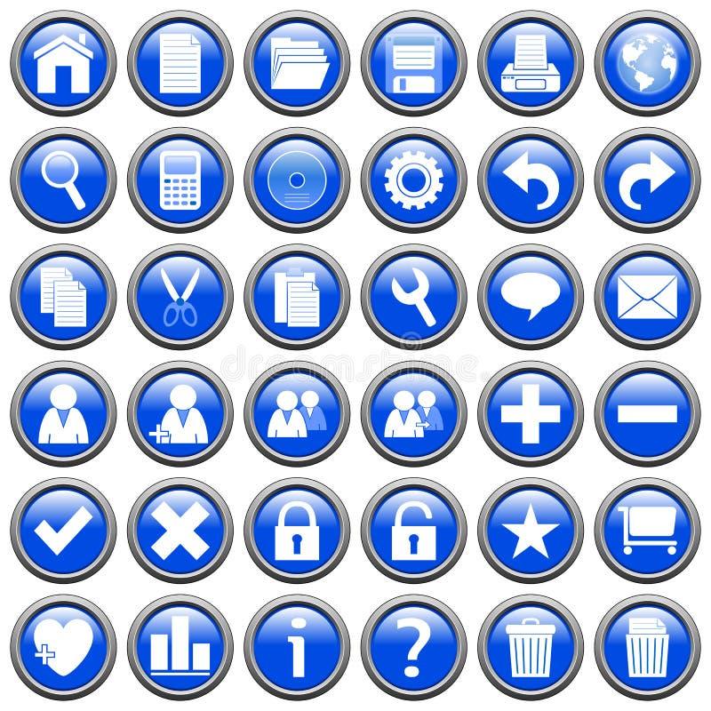 1 blue buttons rund rengöringsduk stock illustrationer