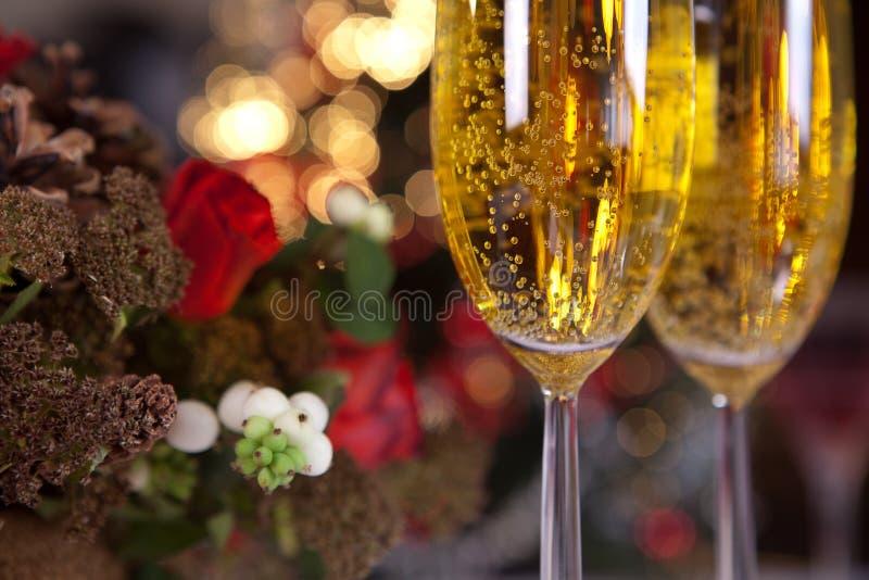 1 champagnejultree royaltyfria bilder