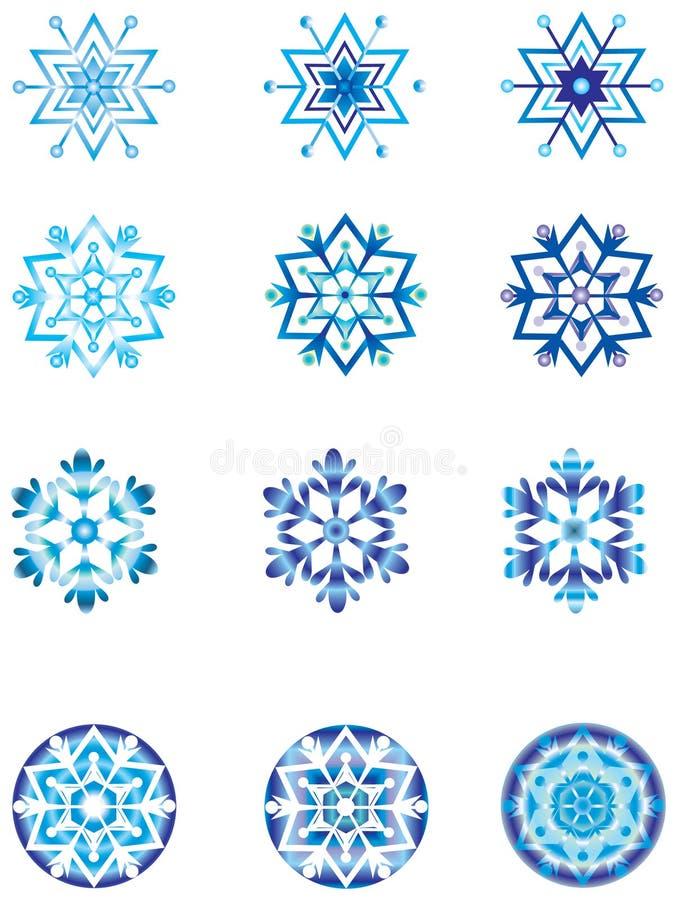 1 crystal moduleringssnowflake vektor illustrationer