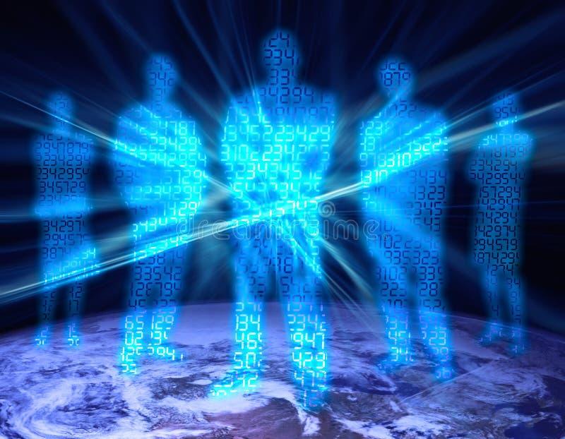 1 cyfr binarnej ludzi ilustracji
