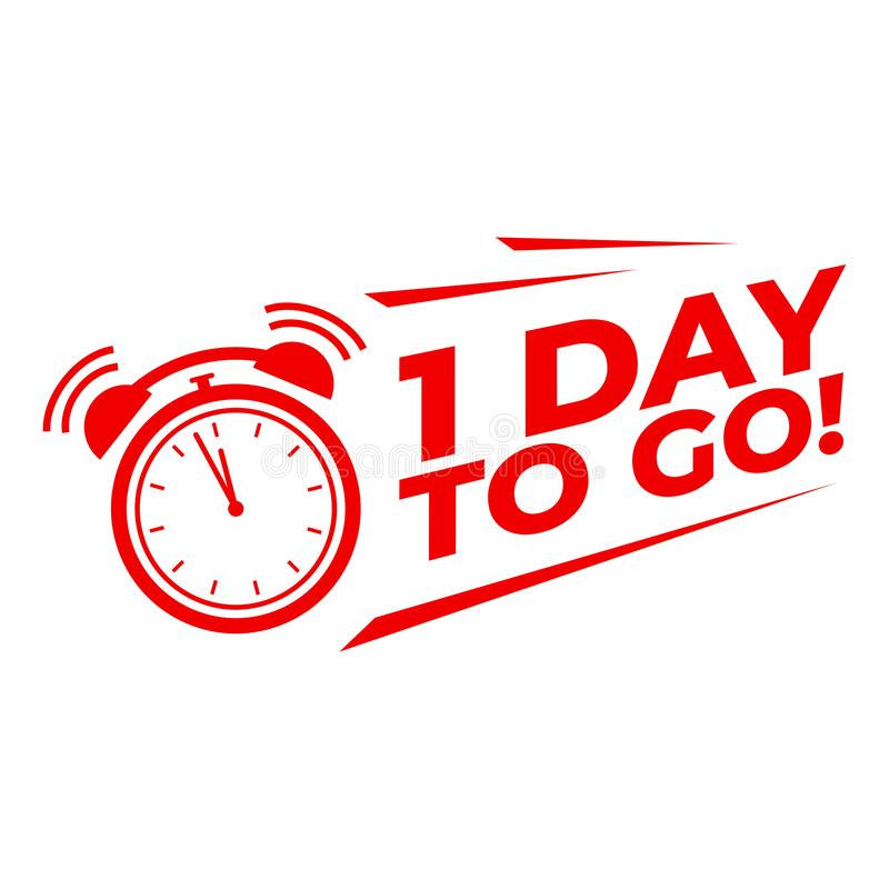 Free 1 Day To Go With Alarm Clock, Sale Promotion Campaign Countdown. Stock Photos - 143566633