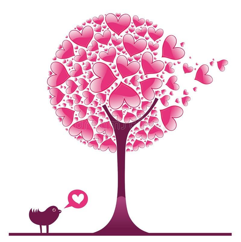(1) dekoracyjny drzewny valentine ilustracja wektor