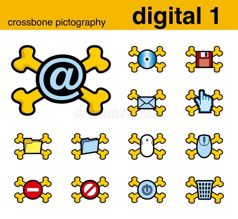 1 digitala pictography för crossbone stock illustrationer