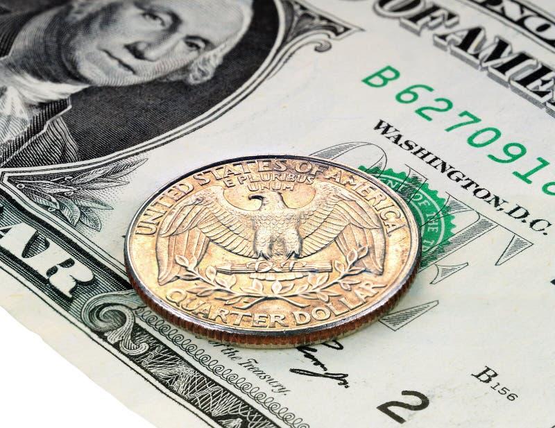 1-Dollar-Banknote und 25 Cents stockbild