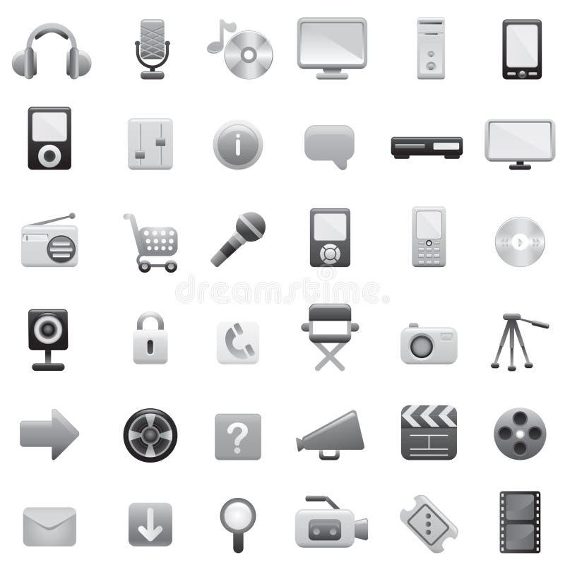 (1) duży ikony ustawiają sieć ilustracji
