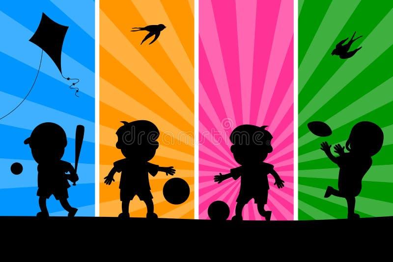 (1) dzieciaki bawić się sylwetki ilustracji