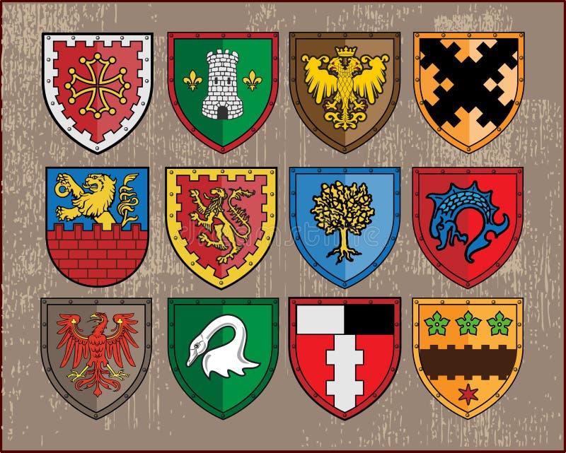 (1) elementu heraldyczne osłony royalty ilustracja