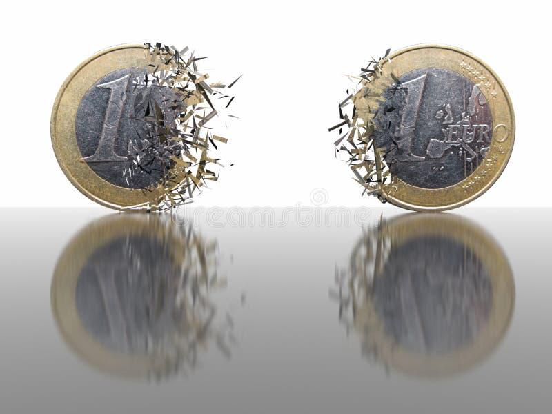 1 Euro-Brechen - abstrakter Hintergrund lizenzfreie abbildung