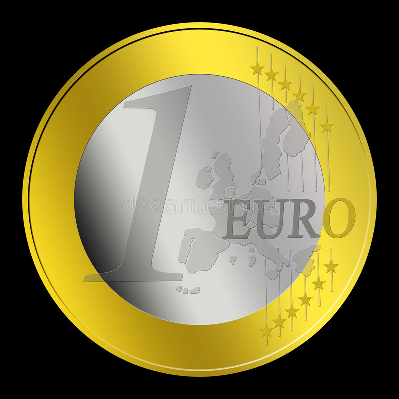 1 Euro Coin. In shapes on a black background vector illustration