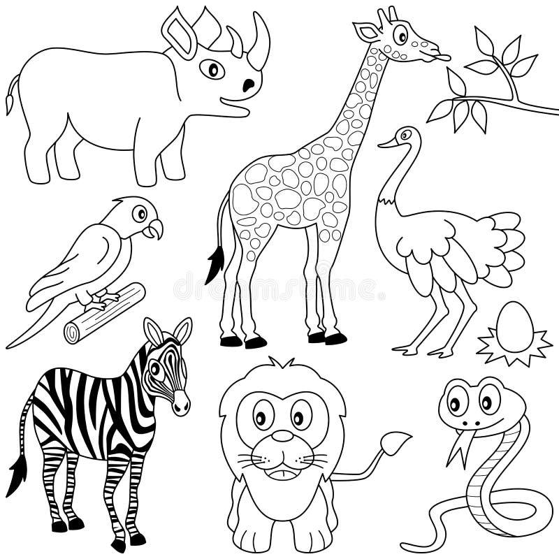 1 färga för afrikandjur stock illustrationer