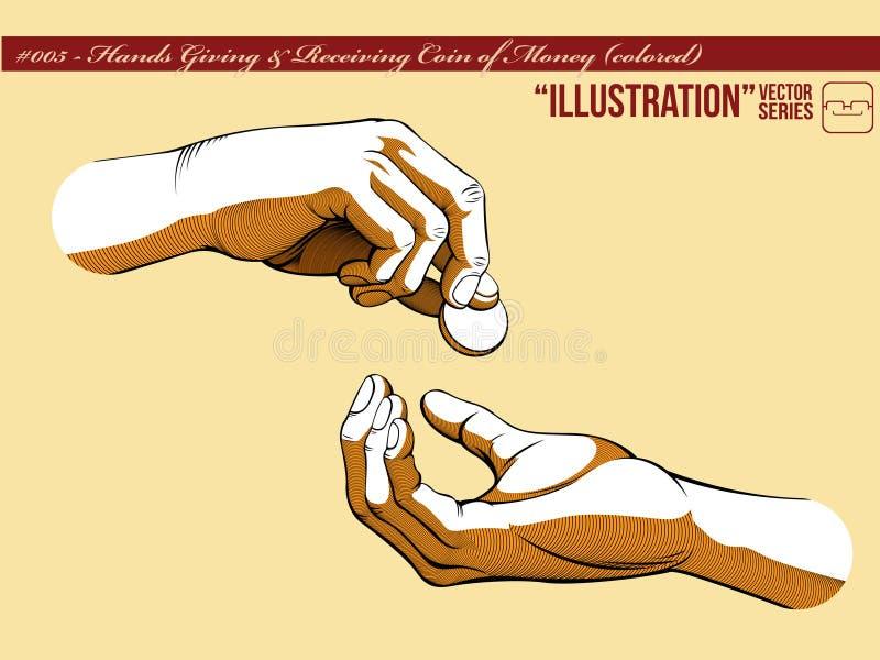 1 för illustrationpengar för 005 geende händer motta vektor illustrationer
