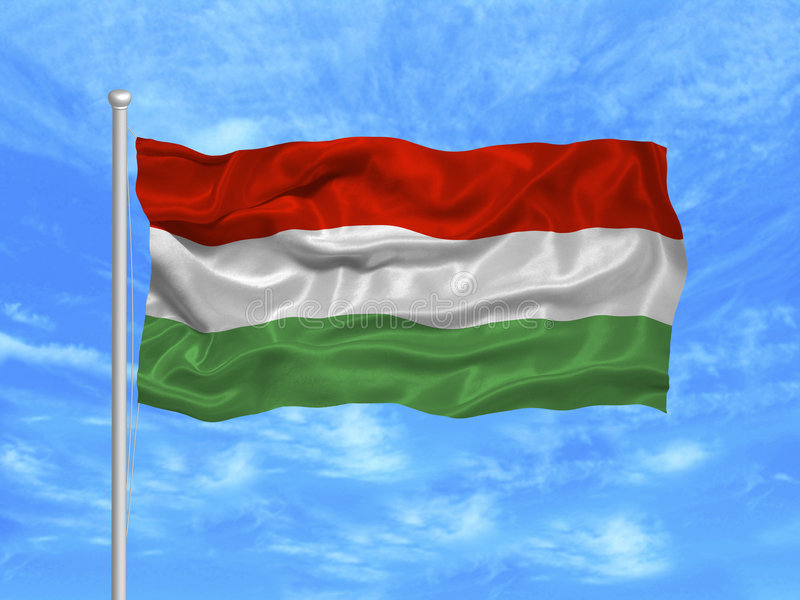 1 flagga hungary royaltyfri illustrationer