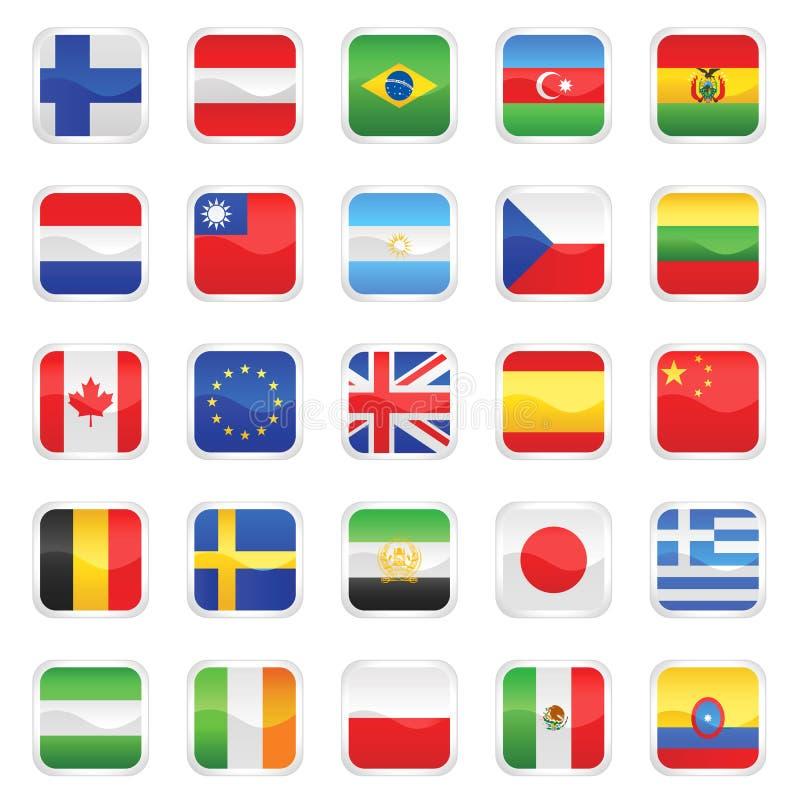 1 flaggavektor royaltyfri illustrationer