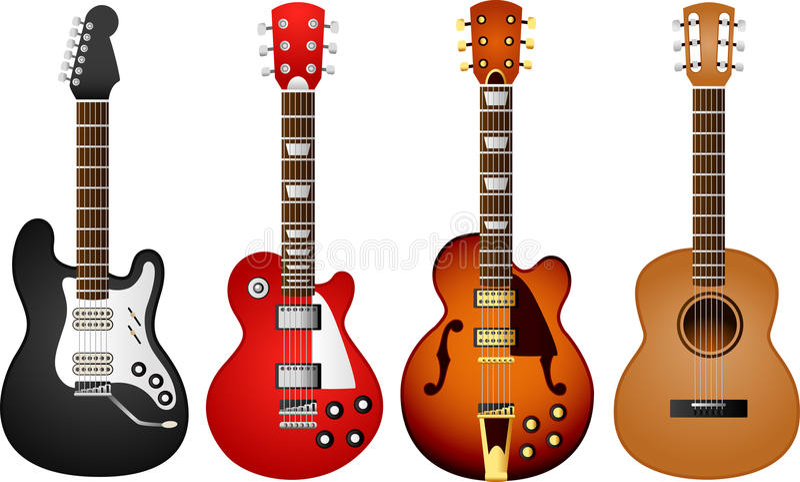 1 gitarrset royaltyfri illustrationer