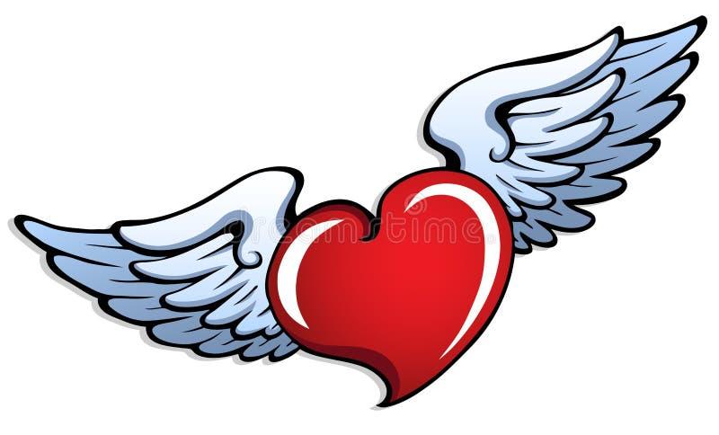 1 hjärta stylized vingar vektor illustrationer