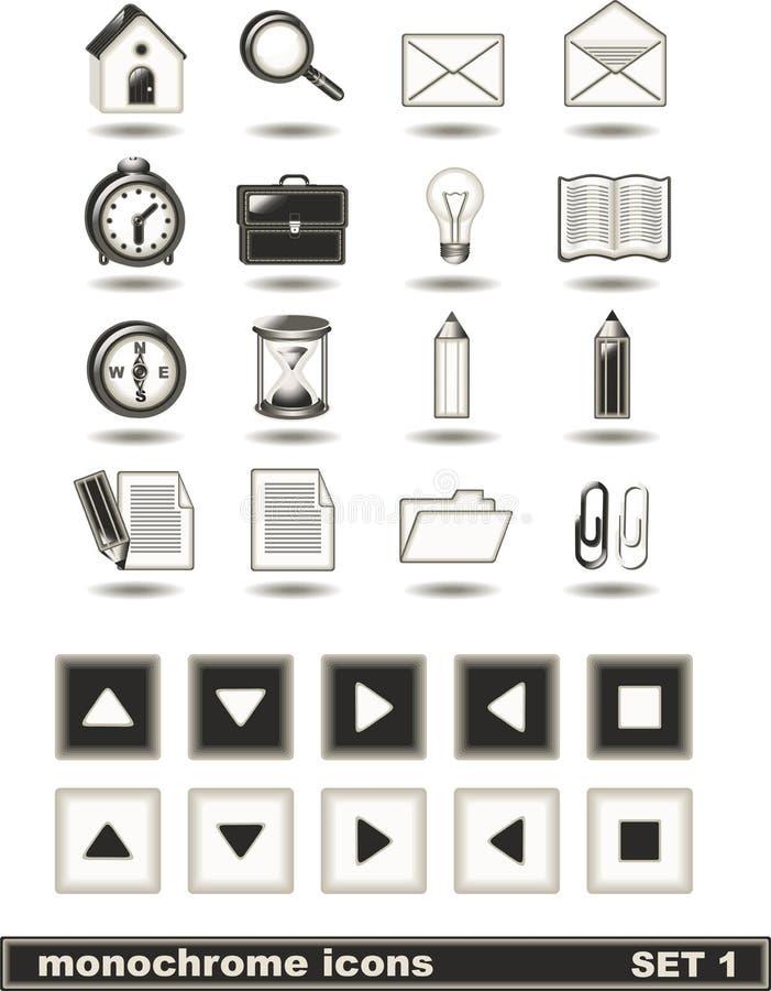 (1) ikon monochromu set fotografia stock