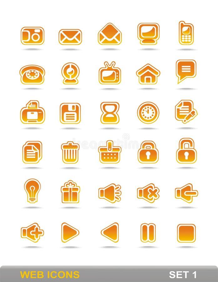 (1) ikon pomarańczowy ustalony sieci kolor żółty obraz royalty free