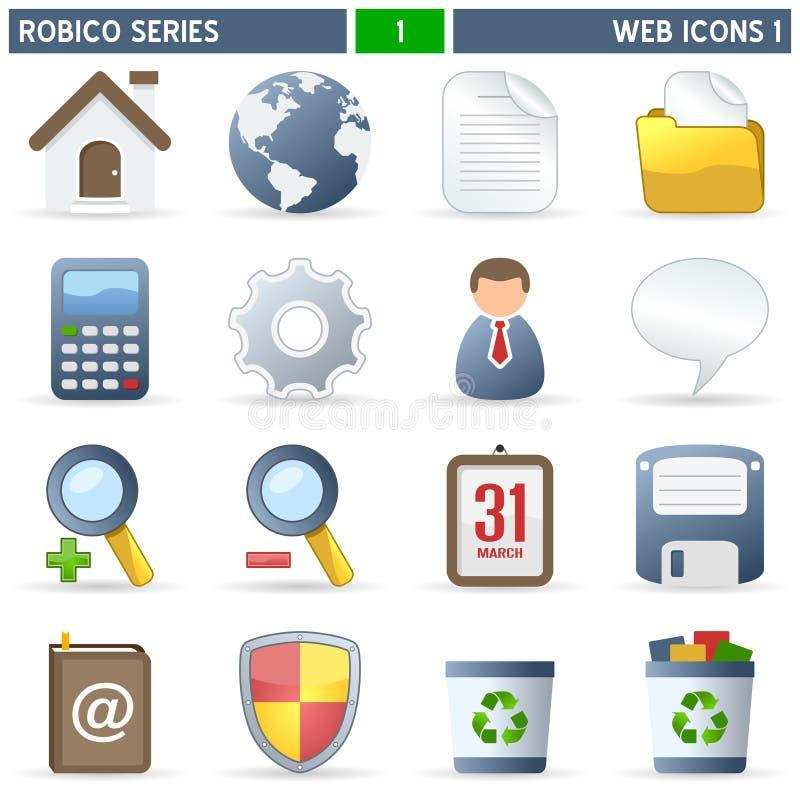 (1) ikon robico serii sieć ilustracji