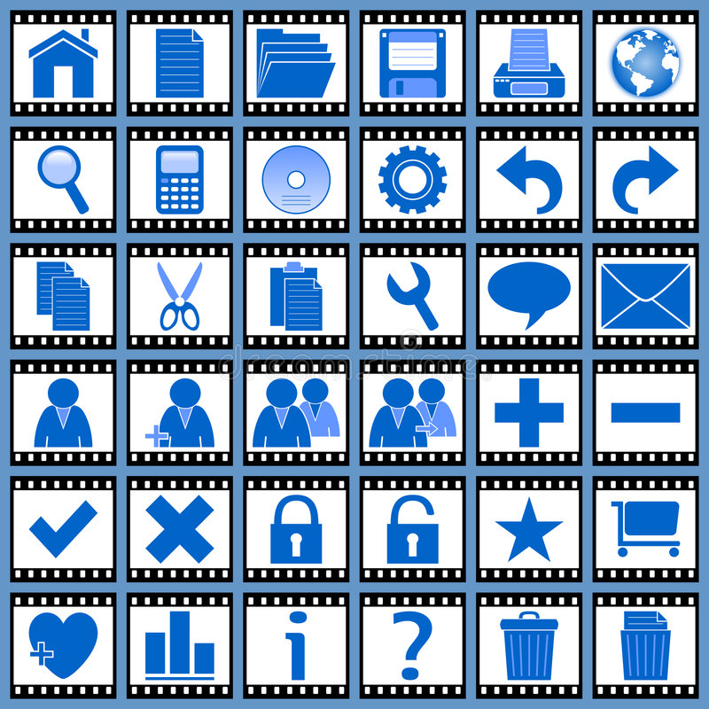 1 ikony filmowej sieci ilustracja wektor