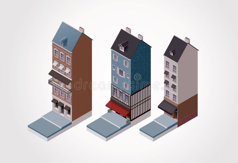 1 isometriska gammala delvektor för byggnader stock illustrationer