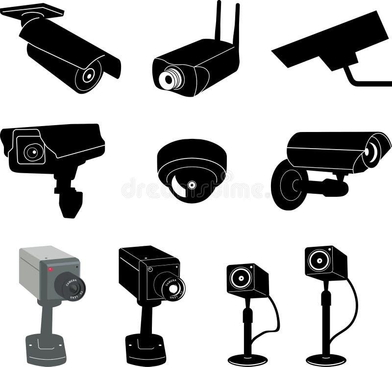 1 kamerasäkerhetsvektor stock illustrationer