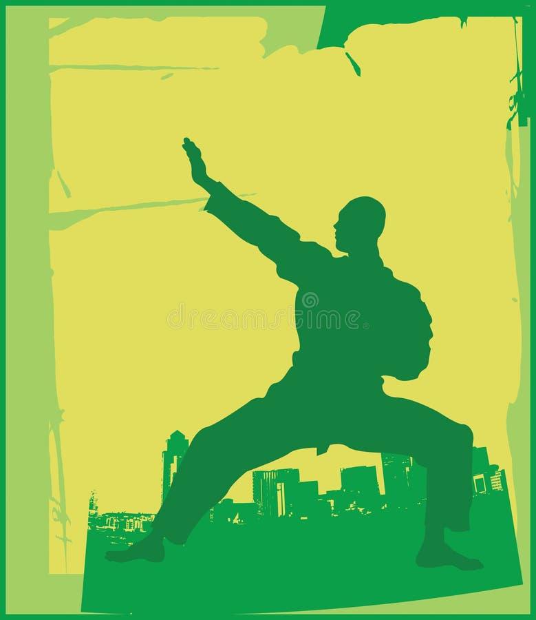 1 karate poserar stock illustrationer