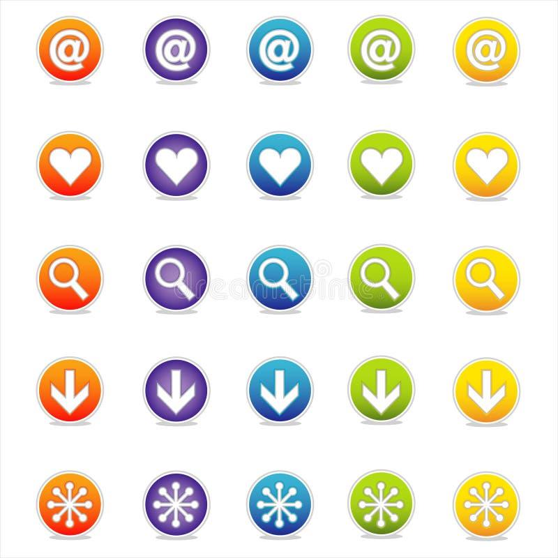 1 kolorowa wektora ikoną sieci ilustracja wektor