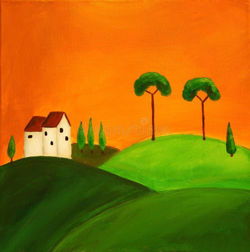 1 krajobrazu Tuscan ilustracja wektor