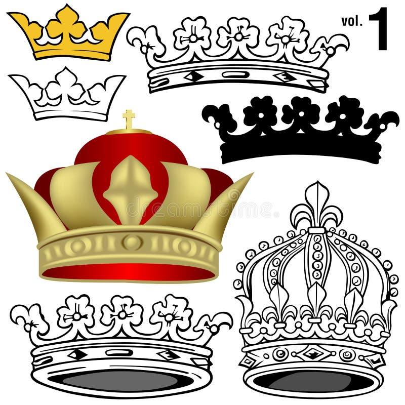 1 kronakunglig person vol royaltyfri illustrationer