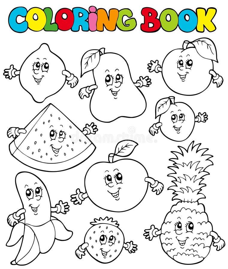 (1) książkowe kreskówki kolorystyki owoc ilustracja wektor