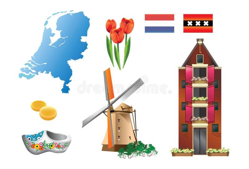 1 landsNederländernaserie royaltyfri illustrationer