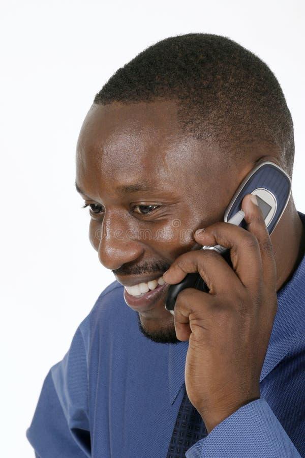 1 lyckliga man för affärsmobiltelefon royaltyfri fotografi