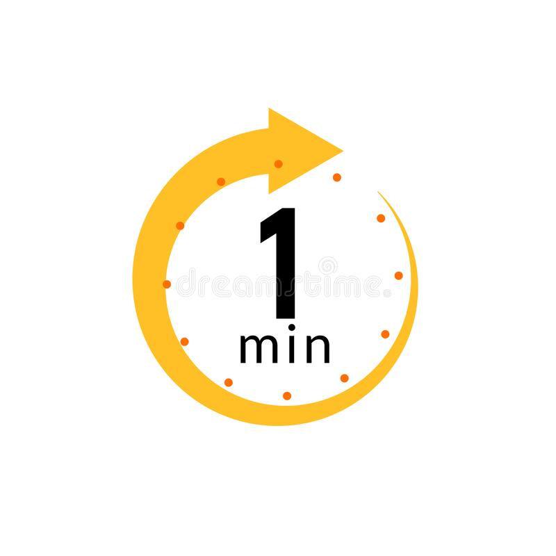 Free 1 Minutes Clock Quick Number Icon. 1min Time Circle Icon Royalty Free Stock Image - 197792566