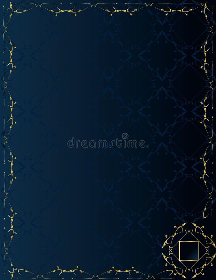 1 niebieski tła elegancki złoto ilustracja wektor