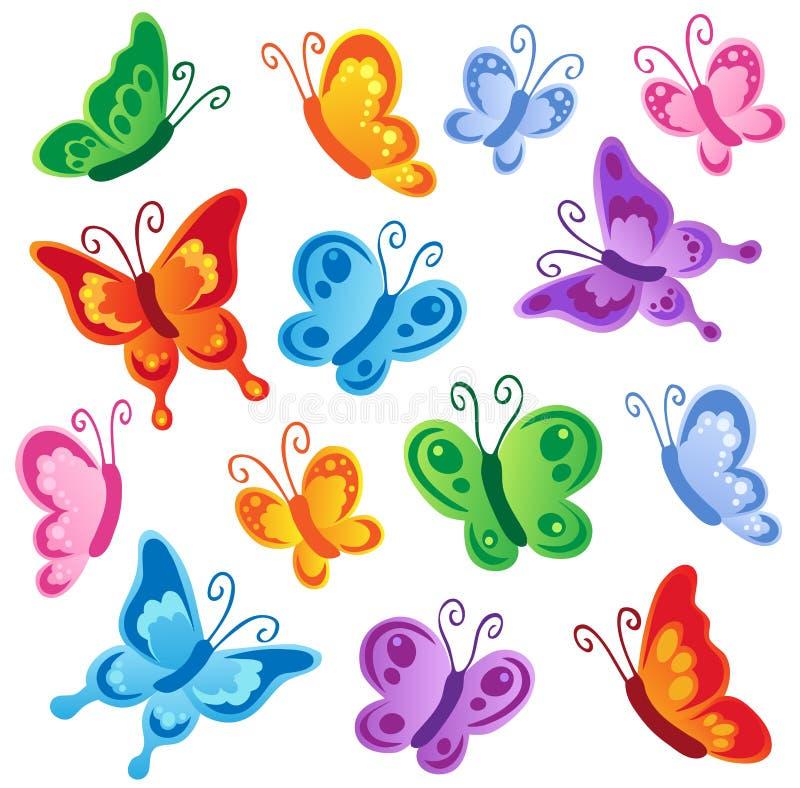 1 olika fjärilssamling vektor illustrationer