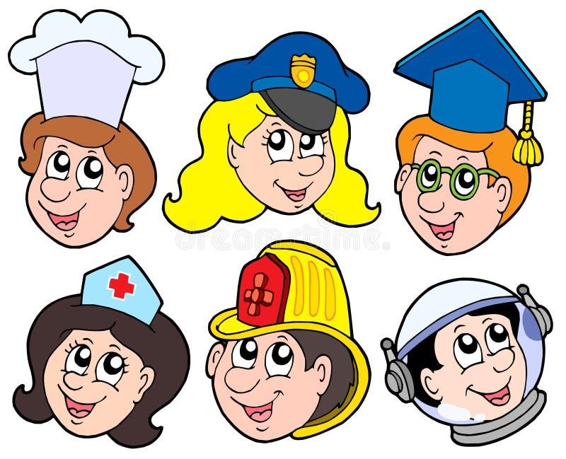 1 olika samlingsockupation royaltyfri illustrationer