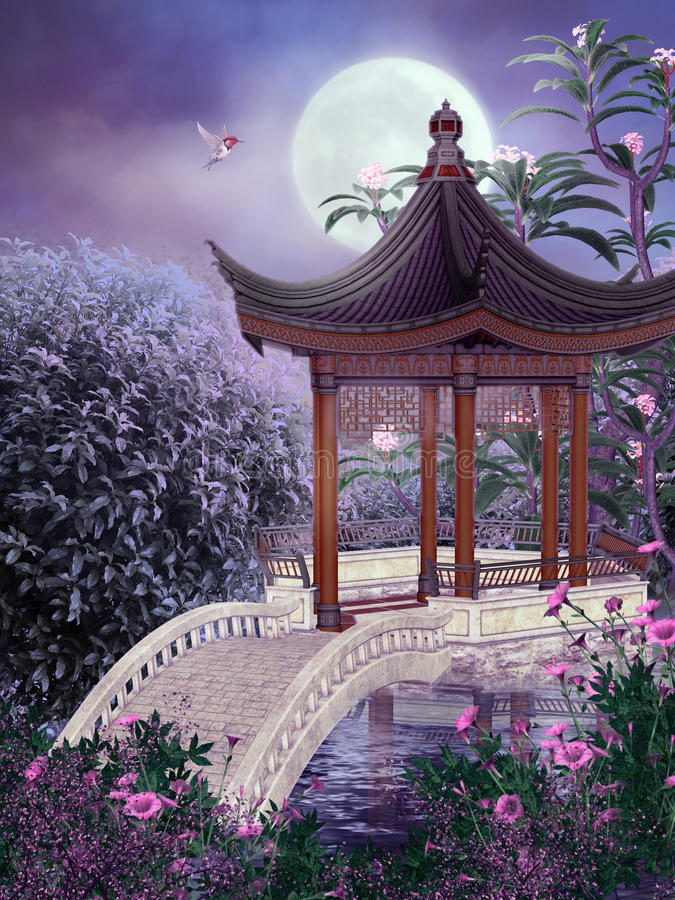 (1) orientalna sceneria ilustracja wektor