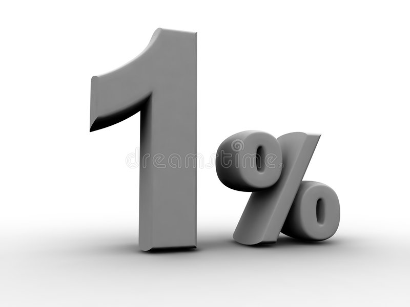 1 Percent. One Percent 3d rendered numeric and percentage