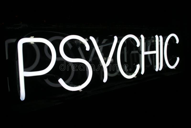 1 psykiska teckenwhite för neon arkivbilder