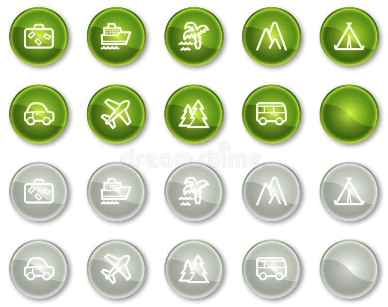 1 rengöringsduk för lopp för knappcirkelgreen symboler inställda stock illustrationer