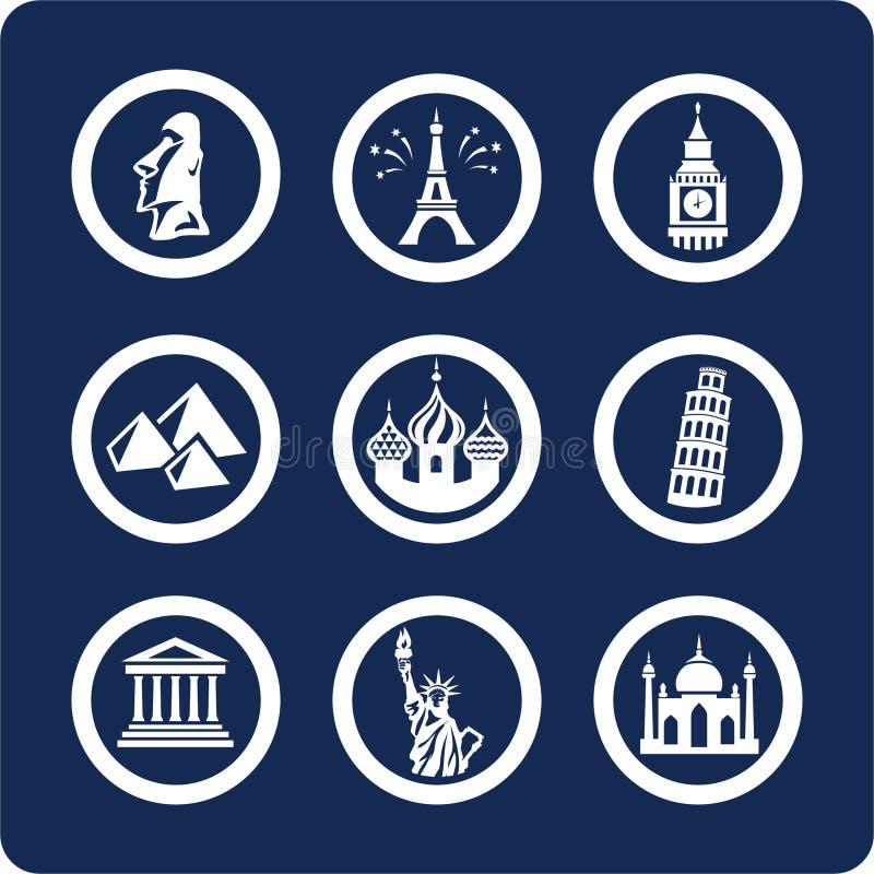 1 sławnych 7 miejsc odłogowania części świata ikony ilustracji
