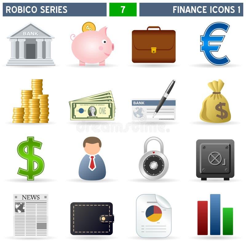 1 serie för finanssymbolsrobico royaltyfri illustrationer