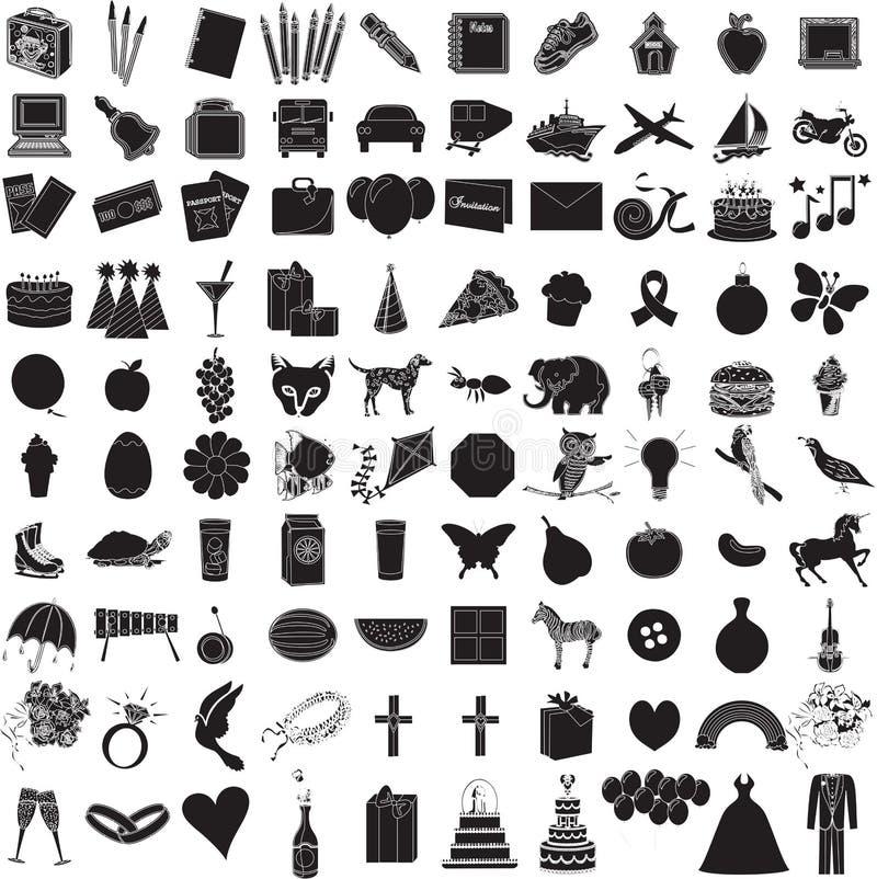 1 set för 100 symbol royaltyfri illustrationer