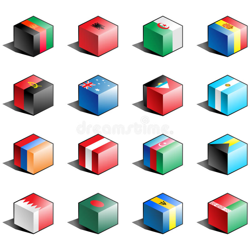 1 set för flaggasymbolsdel vektor illustrationer